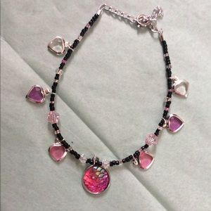 Jewelry - Pink mermaid scale and heart bracelet